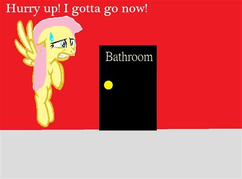 when to go to the bathroom fluttershy has to go to the bathroom by metalgriffen69 on