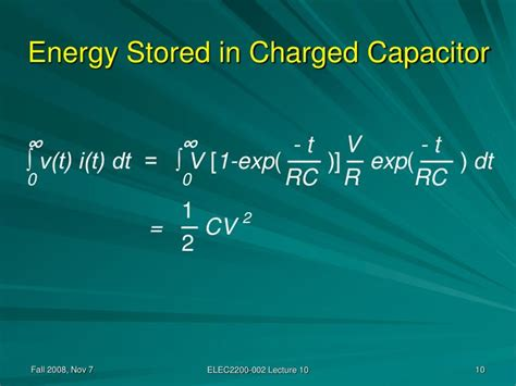 energy stored in a capacitor in watts ppt elec 2200 002 digital logic circuits fall 2008 power dissipation powerpoint presentation