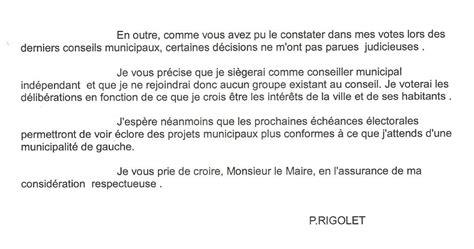 Exemple De Lettre De Demission Adjoint Au Maire Rigolet D 233 Missionne Et Propose Auxerre Tv