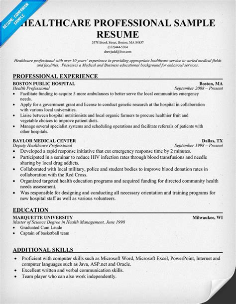 Health Related Resume Exles Resume Sles For Healthcare Professionals