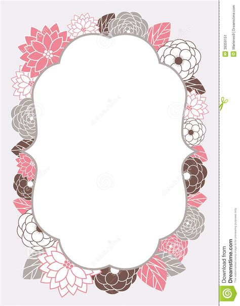 picture frame birth day card template floral invitation card template stock vector