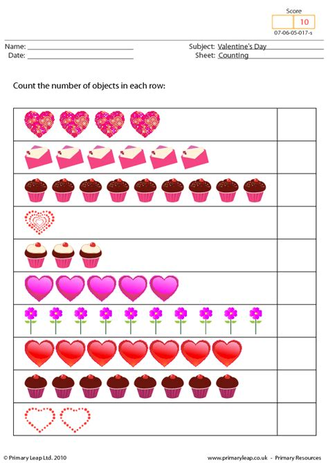 valentines day worksheets s day counting