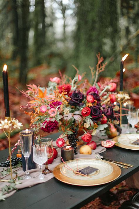 Moody Burgundy and Gold Wedding Inspiration · Ruffled
