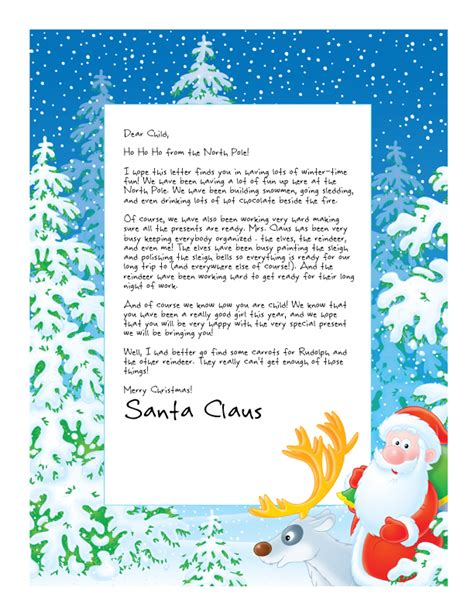printable christmas letter from santa easy free letter from santa magical package christmas