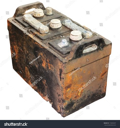 rusty car white background rusty old car battery isolated on stock photo 118205437