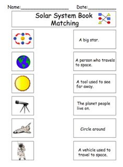 Systems Matching Worksheet by Solar System Definition Matching Worksheet Science