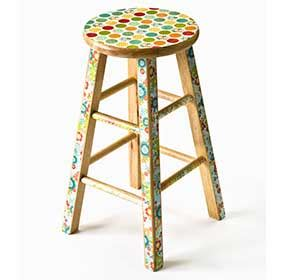 Decoupage Stool - decoupage mod podged bar stool