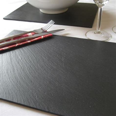 Slate Place Mats by Set Of Four Rectangular Slate Placemats The
