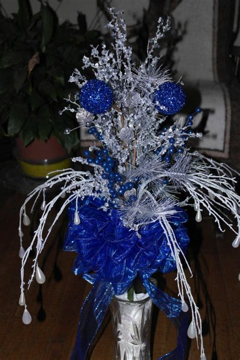 icy blue and silver christmas tree topper ready to ship