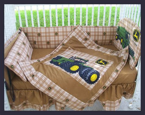 New John Deere Baby Crib Bedding Set Made W New Brown Plaid Deere Bedding Sets