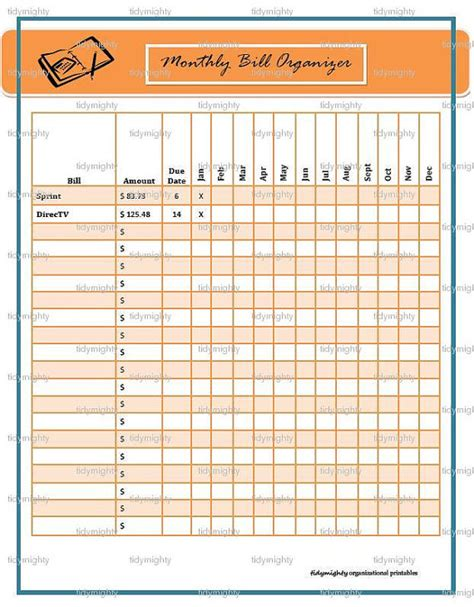free printable organizer pdf free printable monthly bill payment worksheet search