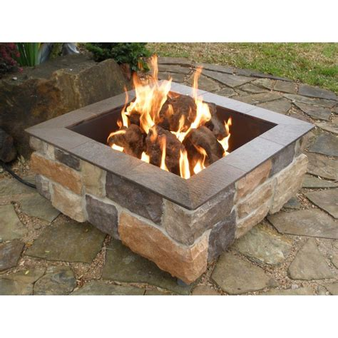 backyard gas fire pit firescapes smooth ledge square natural gas fire pit