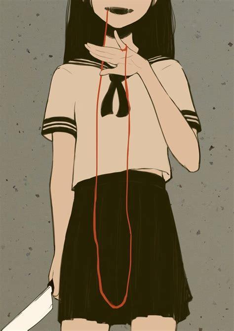 yandere girl yandere girl dark bloody crazy pain gore guro