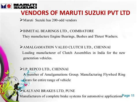 Maruti Suzuki Vendors List Maruti Suzuki India Ltd Msil