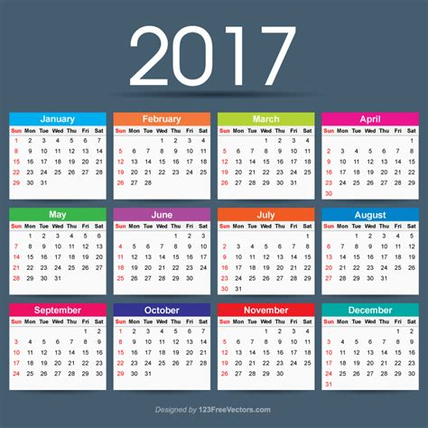 Calendar Template Ai 2017 calendar ai 123freevectors