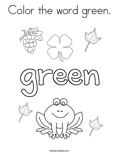 preschool coloring pages color green color the word green coloring page twisty noodle