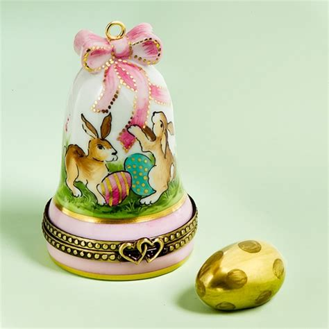 limoges easter rabbits bell  egg box  cottage shop