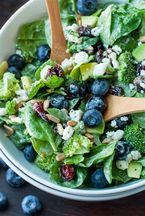 salads recipes blueberry broccoli spinach salad with poppyseed ranch