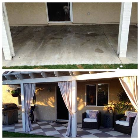 chalk paint escondido this before after photo of a patio floor makeover is