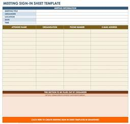 meeting sign in sheet template free sign in and sign up sheet templates smartsheet