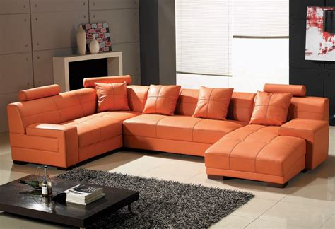 orange sectional sofa orange leather furniture homesfeed