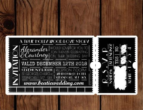 ticket wedding invitation template 59 invitations downloadcloud