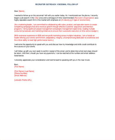 7 Follow Up Email Sles Sle Templates Response To Recruiter Email Template