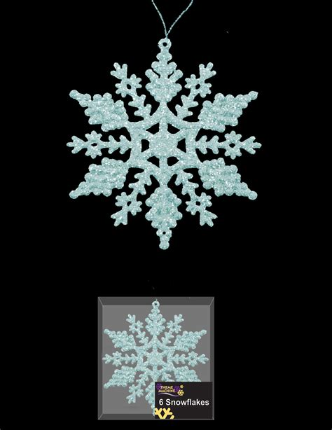 6 pale ice blue snowflake glitter christmas tree hanging
