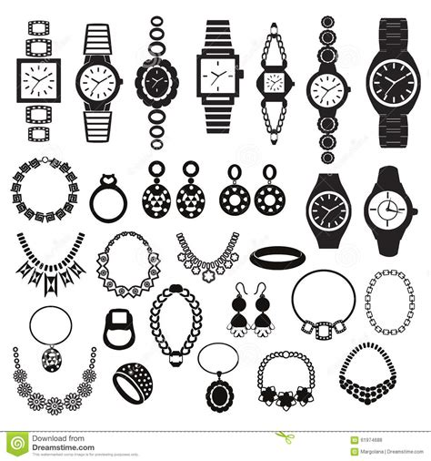 fashion jewelry images illustrations vectors fashion icons set with fashion watches and jewelry stock vector