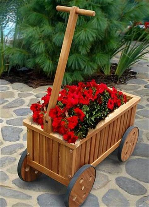 Landscape Timber Dump Truck In Garden On Wheels Planters