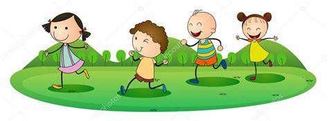 imagenes de niños jugando y riendo ni 241 os jugando al aire libre vector de stock