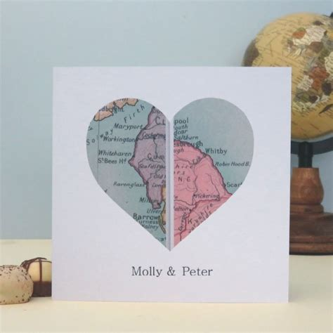 Wedding Anniversary Locations personalised vintage uk map card location