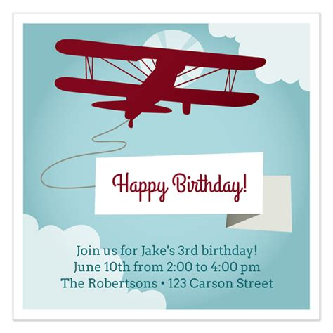 Aeroplane Template For Birthday Card airplane birthday invitation invitations cards on pingg