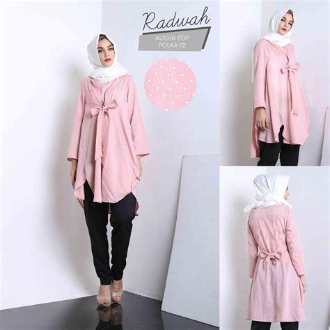 Polka Top Katun jual baju muslim wanita casual tunik alisha top polka blus elegan situsbelanjaku