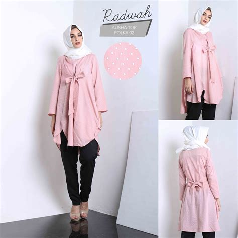 Salsabila Blouse Dusty Pink Tunik Atasan Wanita Baju Murah jual baju muslim wanita casual tunik alisha top polka blus elegan situsbelanjaku