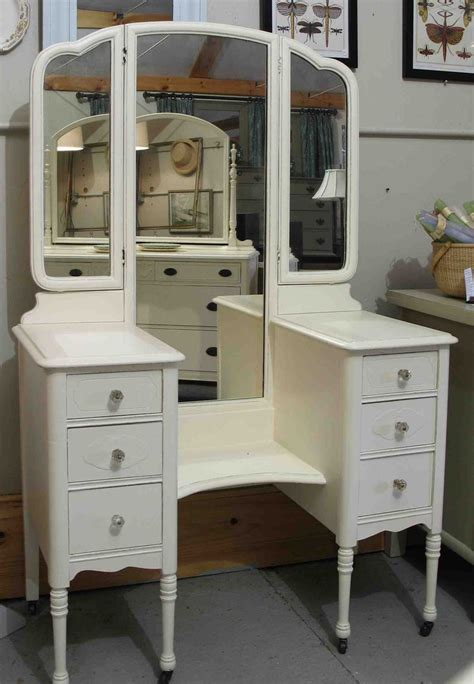 Vintage Makeup Vanity Table Vintage Drop Well Vanity A 1930s Dressing Table Painted Cottage White With Glass Knobs And