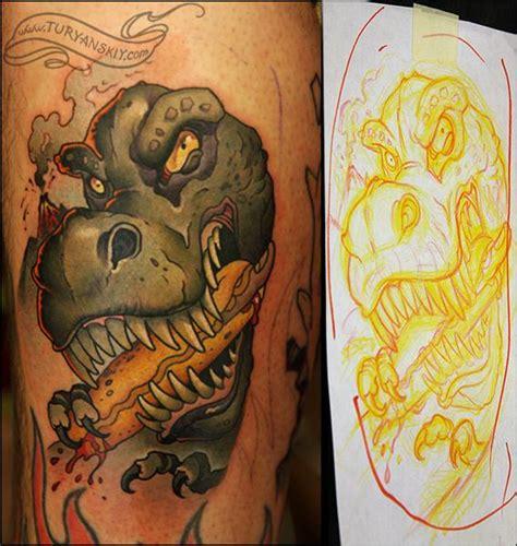 cartoon t rex tattoo t rex by oleg turyanskiy tattoonow