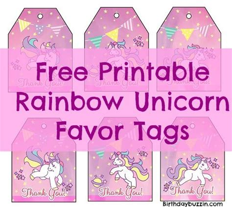 free printable unicorn tags free printable rainbow unicorn favor tags birthday buzzin