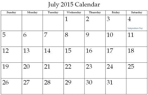 Calendar Template July 2015 7 Best Images Of Printable 2015 Monthly Calendar Template
