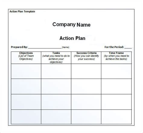 Action Plan Format And Template Samples Vlashed