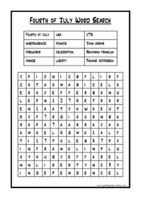 printable word search fourth of july 4th of july word search printable fourth of july word