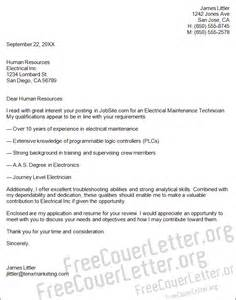 Application Letter For Maintenance Electrician Electrical Maintenance Technician Cover Letter Sample
