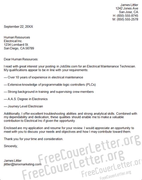 electrical maintenance technician cover letter sle