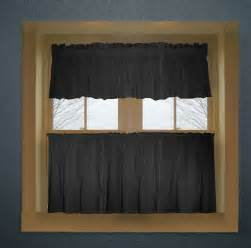 Black Valance Black Color Tier Kitchen Curtain Two Panel Set
