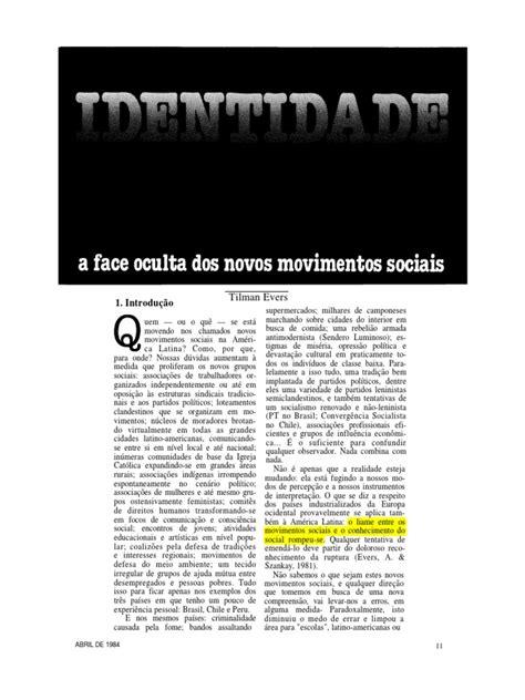 Identidade a Face Oculta dos Novos Movimentos Sociais