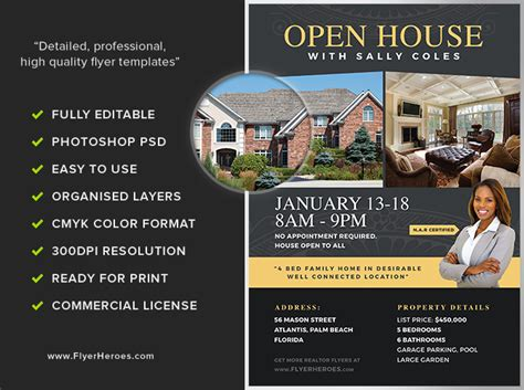 realtor flyers inspirational real estate open house flyer template