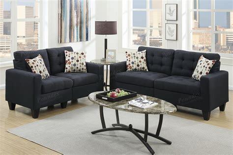 black fabric sofa and loveseat poundex acy f6903 black fabric sofa and loveseat set