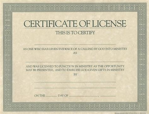 certificate license for minister cokesbury