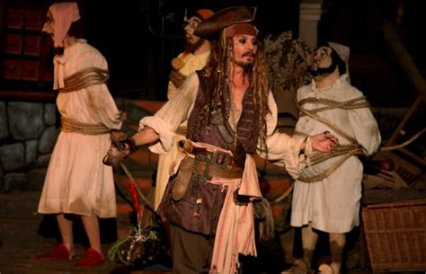 johnny depp on pirates of the caribbean disneyland ride johnny depp dresses up as captain jack sparrow and