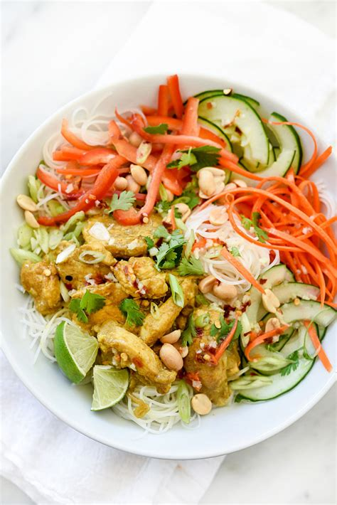 rice noodle salad vietnamese curry chicken and rice noodle salad bowl